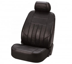 Autositzbezug aus Leder schwarz Einzelsitz